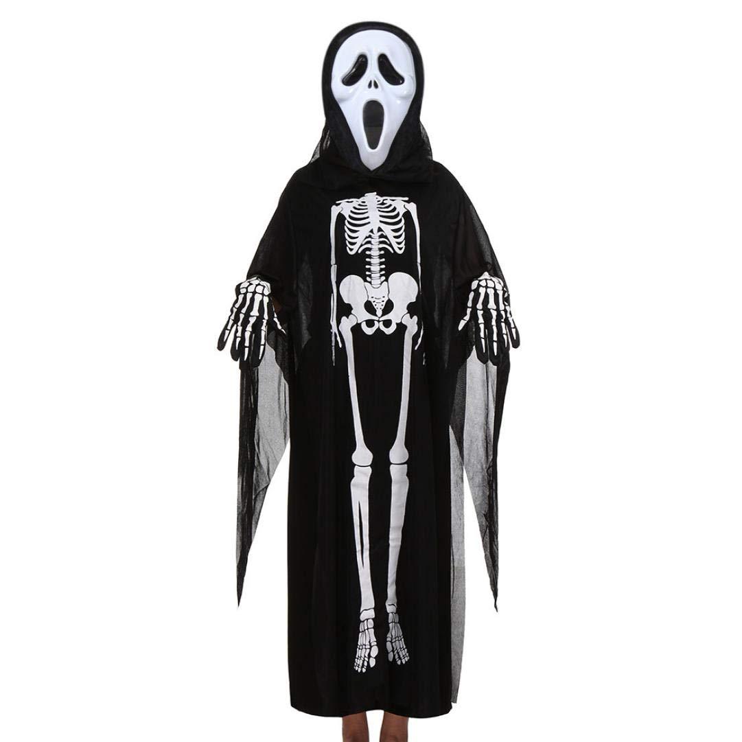 SamMoSon Halloween Mantello Manica Lunga Cranio Scheletro Fantasma Abbigliamento + Maschera Horror + Guanti Abito A Tre Pezzi Bambini & Maschi E Femmine