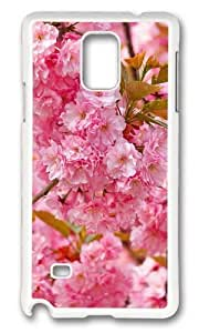 MOKSHOP Cute spring cherry blossom hd Hard Case Protective Shell Cell Phone Cover For Samsung Galaxy Note 4 - PC White