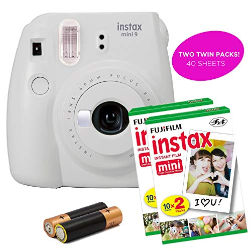 Certified Amazing – Fujifilm Instax Mini 9 Instant Camera Product Bundles | Film Pack Options | Fujifilm Renewed (Mini 9 + 2 Film Packs, Smokey White)