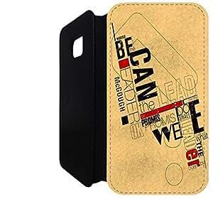 Samsung Galaxy S6 Edge Flip Wallet funda, FKSGFKOOG4888 lujo moda cuero la PU Flip Wallet funda por Samsung Galaxy S6 Edge (BAUHAUS TIPOGRAFÍA)