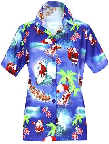 HAPPY BAY V Neck Shirts Women Palm Tree Classic Collar Button UP Hawaiian Shirt
