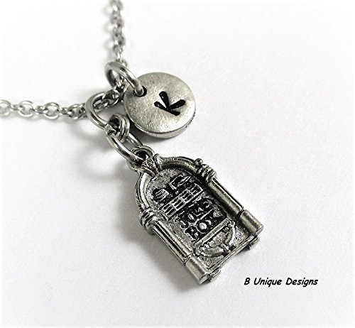 Jukebox Music Necklace Recorded Songs Juke Box Phonograph Personalized Initial Jewelry Add Birthstone Crystal or Your Name