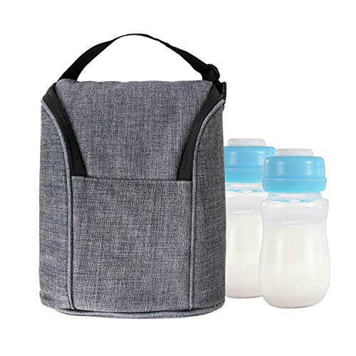 Amariver Grey Insulated Baby Bottle Tote Bags, Fashion Oxford Ice Pack Multi-Function Lunch Picnic Bag for Travel by Amariver