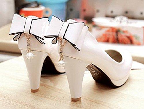 Escarpins Elégant Chaussures Bout Blanc Pour Femme Aisun Rond Mariage PwHOw