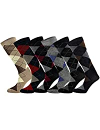 Mens Dress Casual Argyle/Stripe Socks Cotton Blend Assortment 6/12 Pairs