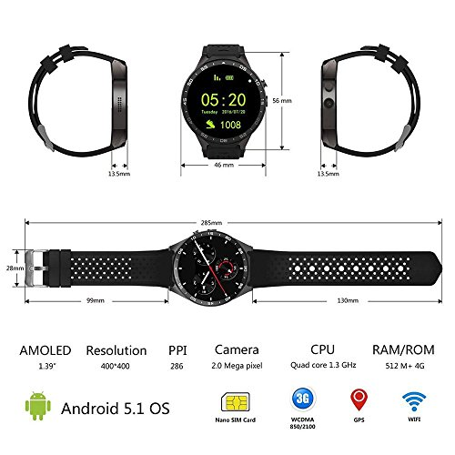 KW88 3G WIFI Smartwatch Cell Phone All in One Bluetooth Smart Watch Android  5 1 SIM Card with GPS,Camera,Heart Rate Monitor,G