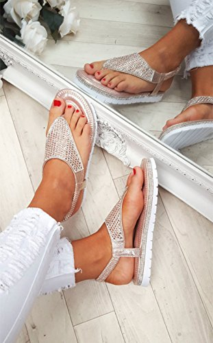 Ladies Womens Flat Low Wedge Diamante Summer Sandals Sparkly Flatform Toe Post Beach Shoes Size Rose Gold 3q2bLHVF