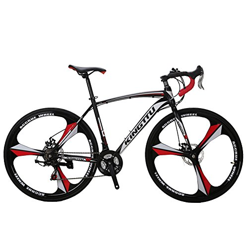 VTSP XC550 Road Bicycle 700Cx28C Steel Hard Frame 21 Speeds Road Bike Solid Wheel Integrated Wheel Curved Handlebar Double Disc Brakes Cycling Gifts For Man Promotion US Warehouse - Promotions Mens Warehouse