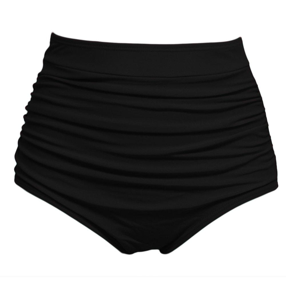Qiaoer Women\'s Retro Black High Waisted Bikini Bottom Ruched Swim Short Tankinis Briefs (Black #2(QA05), XXL)