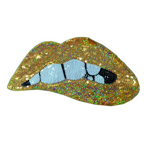 LIOOBO Embroidered Sequin Patches Lip Shape sew on Patches Iron on Appliques for Clothes Jackets Hats Backpacks Jeans (Gold)