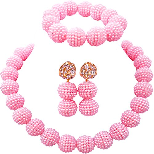 laanc Fashion Women 1 Rows Multicolor Plastic Imitation Pearl Nigerian Wedding Beads African Jewelry Sets (Light Pink)