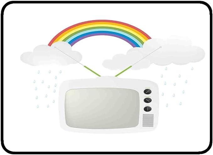 Alfombrillas de sala ultra suaves Alfombrilla antideslizante 50x80 cm Arco iris de la vendimia Cocina Baño Ducha Área de baño Alfombra Entrada exterior Felpudo Televisor viejo con nubes de lluvia en l: