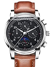Carnival Automatic Mechanical Watch Men Moon Phase Switzerland Watches Real Leather Strap Waterproof Clock (Black&Brown)
