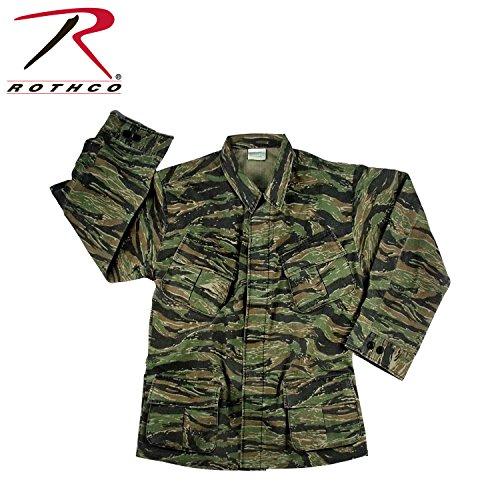 - Rothco Men's Vintage Vietnam Fatigue Shirt Rip-Stop (Tiger Stripe Camo, 2XLarge)