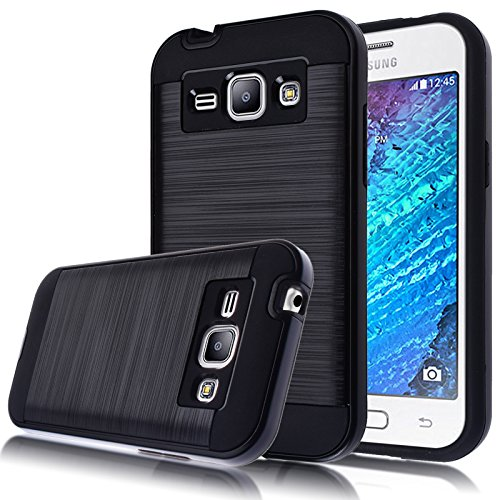 J1 Case 4.3inch (2015),Kmall [Metal Brushed Texture] Hybrid Dual Layer Full-Body Shockproof Protective Cover Skin Shell For Samsung Galaxy J1 J100H / J100VZ (Black)