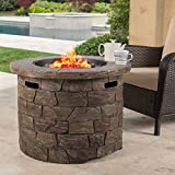 GDF Studio Stonecrest Outdoor Round Stone Fire Pit Table, Propane...