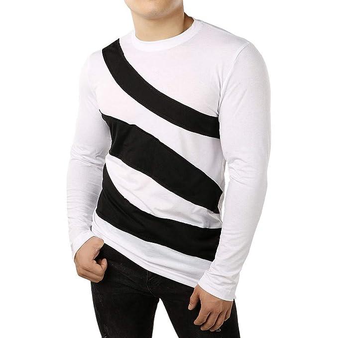 Top de Manga Larga con Estampado de Rayas Negro y Blanco para Hombre, suéter, Camisa, Sudadera(S-2XL)de Internet: Amazon.es: Ropa y accesorios