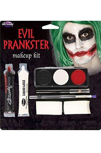 Fun World  Halloween Evil Prankster/joker Make Up Kit Accessory, -Multi, standard -