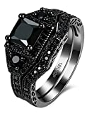 Black Brass White Diamond Prong Set Diamond Princess Cut Diamond Engagement Rings