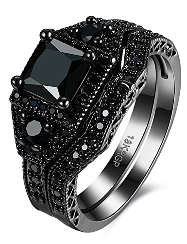 - Black Brass White Diamond Prong Set Diamond Princess Cut Diamond Engagement Rings