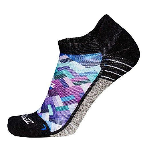 Zensah Limited Edition No-Show Running Socks - Anti-Blister Comfortable Moisture Wicking Sport Socks for Men and Women (M, Geo Waves)