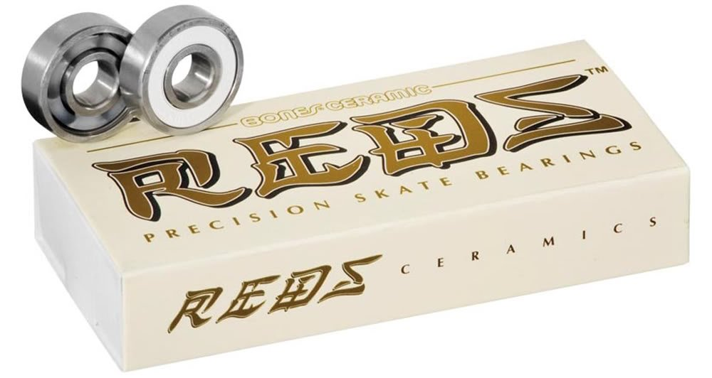 Bones Ceramic Super Reds Bearings - 8mm 16 Pack - Derby Skate Bearings