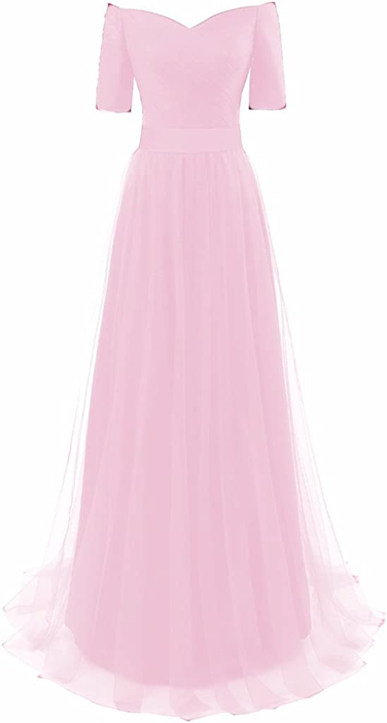 Verabeauty Womens Tulle 1//2 Sleeve Off-Shoulder V-Back Long Bridesmaid Dress B103