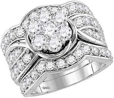 14k White Gold Womens Round Diamond 3 Piece Flower Bridal Wedding