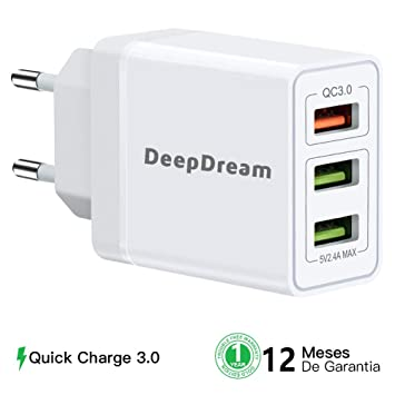 DeepDream Quick Charge 3.0 Cargador USB de Pared, 30w 3 Puertos de Cargador Móvil Rápido de Pared para iPhone, iPad, Samsung Galaxy, Huawei, Xiaomi ...