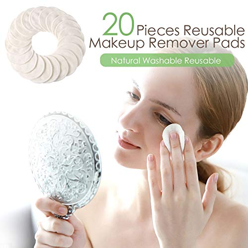 Makeup Remover Pads Reusable 20 Packs-Natural Bamboo Cottons Facial Skin Caring Pads-Face Cleaning Clothes Wipes Machine Washable With Laundry Bag by AMOGO (Image #4)