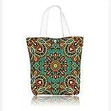 Ladies canvas tote bag Pattern With Mandala Style Islamic Medieval Arasque Motifs Oriental Ethnic Design reusable shopping bag zipper handbag Print Design W11xH11xD3 INCH