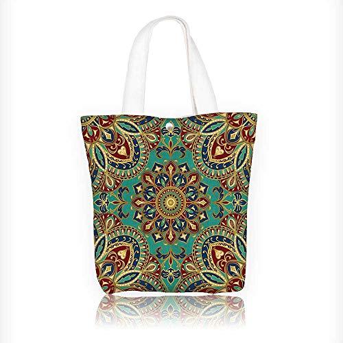 Ladies canvas tote bag Pattern With Mandala Style Islamic Medieval Arasque Motifs Oriental Ethnic Design reusable shopping bag zipper handbag Print Design W11xH11xD3 INCH by Jiahonghome