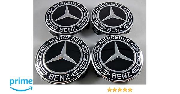 4 pieza Estrella con corona Laurel Negro para Mercedes Benz Cilindro de Ornamentales Tapa Corona Laurel Buje Tapa de rueda Wheel Cap Tapa Ornamentales: ...