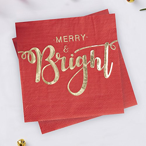 Ginger Ray Mini Silver Foiled Christmas Metallic Stag Party Paper Napkins x 20