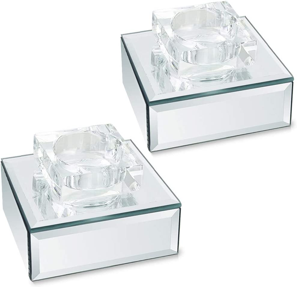 Multi type Crystal 1 3Tealight Candle Holder Mirror Crystal Silver Sparkle 2