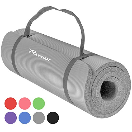 REEHUT 1/2-Inch Extra Thick High Density NBR Exercise Yoga Mat for Pilates, Fitness & Workout w/Carrying Strap (Grey)
