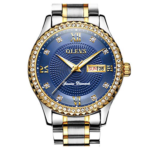 OLEVS Diamond Big Face Day Date Dress Watches for Men Luxury & Mobius Bracelet Gift Set Male Business Casual Royal Blue Dial Gold Bezel Analog Wrist Watch Waterproof Luminous with - Watch Wrist Steel Bezel Stainless