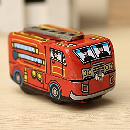 Vintage Fire Chief Firefighter Car Truck Clockwork Model Toys Children Gifts