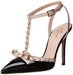 An exciting, high-heeled dress pump with jewel-encrusted T-strap and bow at toe on upper