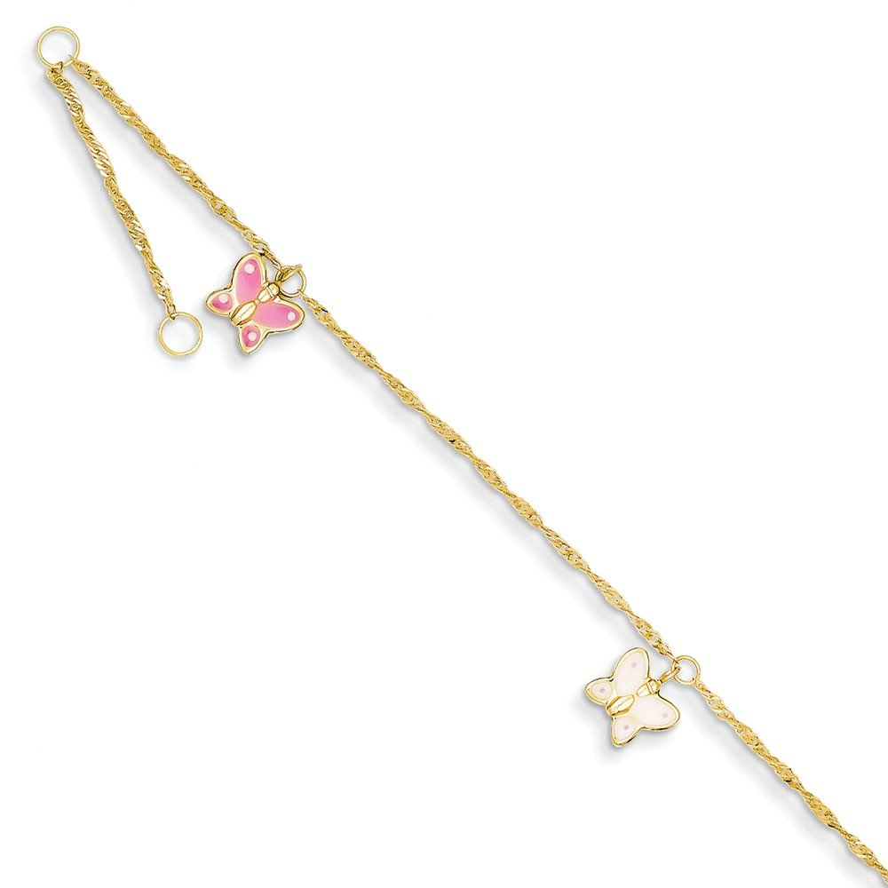 Top 10 Jewelry Gift 14k Adjustable Enameled Butterfly Anklet