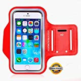 Star Tech Lifetime Warranty Armband For iPhone 4, 5, 6, 6 Plus, 6 S, 6 S Plus, Plus Fits Samsung Galaxy S7 Edge, Note 5 All Side Headset Openings To Fit Other Mobiles (iPhone 6 S Red)