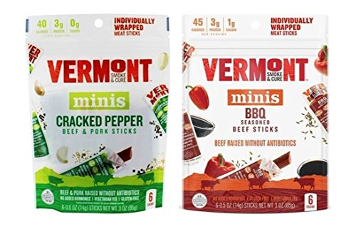 Vermont Smoke & Cure Minis 2 Flavor Sampler Bundle, (1) Each: Original Beef & Pork with Cracked Pepper, and BBQ Beef - 6 Count