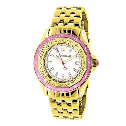 LUXURMAN Womens Diamond Watch 0.25ct Yellow Gold Pltd