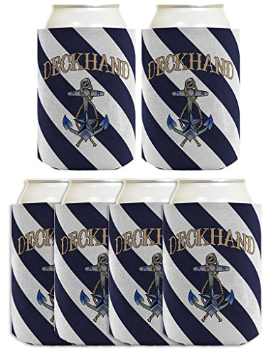Funny Beer Coolie Funny Beer Coolie Deckhand Nautical Sailing Boating Gift 6 Pack Can Coolie Drink Coolers Coolies Navy Stripes