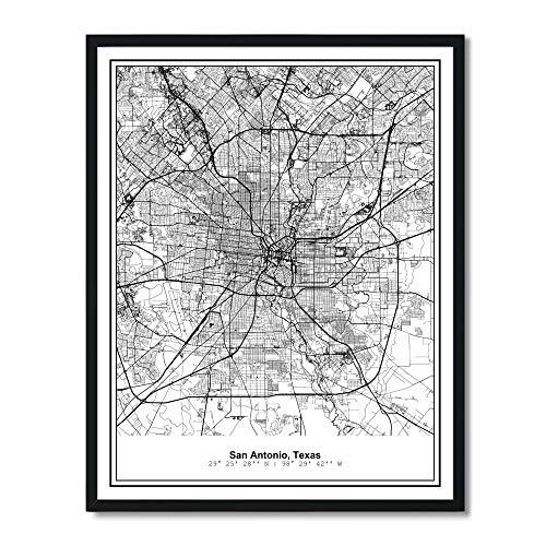 Susie Arts 11X14 Unframed San Antonio Texas Metropolitan City View Abstract Street Map Art Print Poster Wall Decor V295