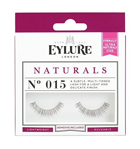 Eylure Naturals False Eyelashes, Style No. 015, Reusable, Adhesive Included, 1 Pair