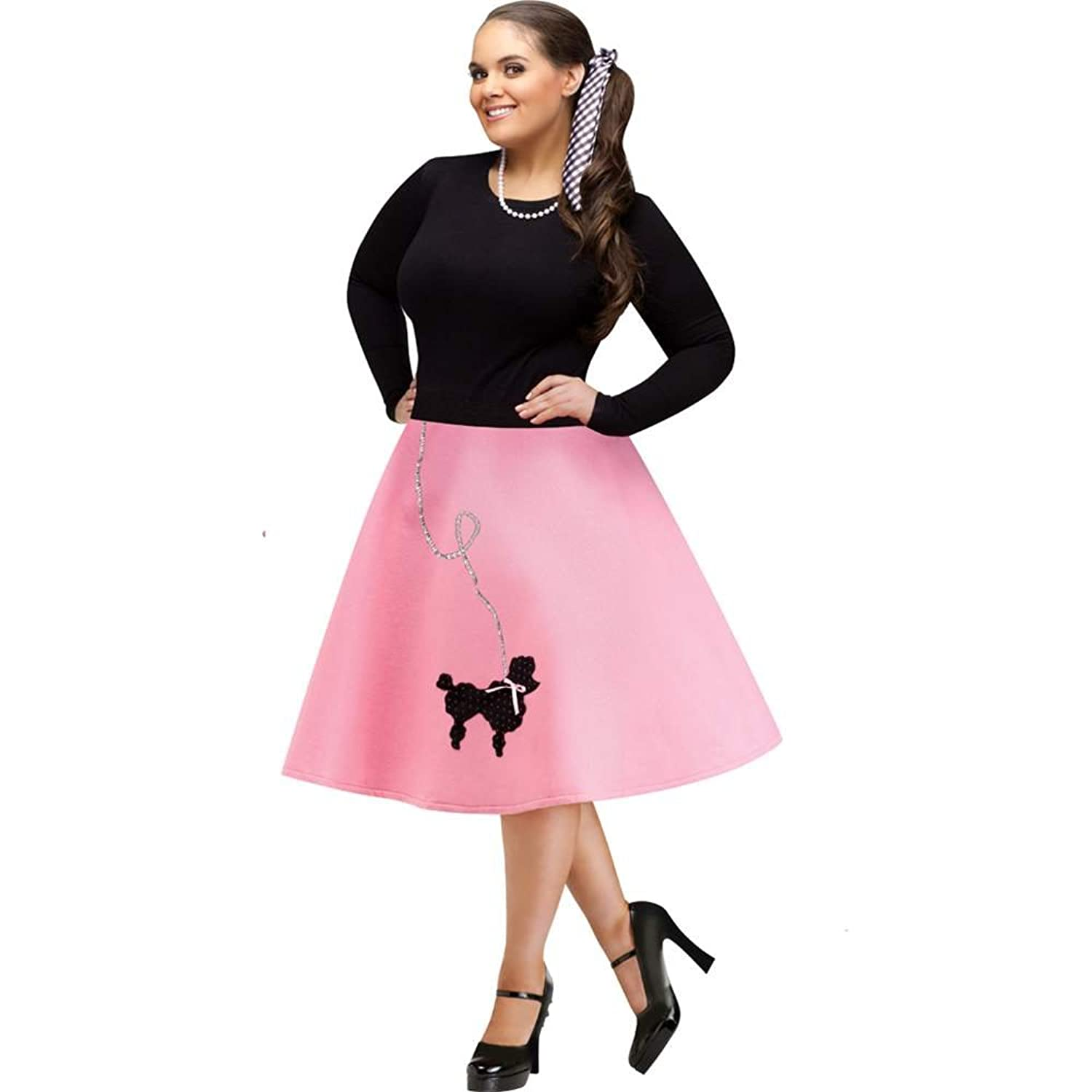 50s Skirt Styles | Poodle Skirts, Circle Skirts, Pencil Skirts 1950s FunWorld Plus-Size Poodle Skirt Costume $18.99 AT vintagedancer.com