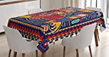 Ambesonne Mexican Tablecloth, Aztec Culture Pattern Ethnic Colorful Mythology Artwork Ancient Snake, Dining Room Kitchen Rectangular Table Cover, 52 W X 70 L Inches, Indigo Mustard Orange