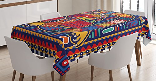 - Ambesonne Mexican Tablecloth, Aztec Culture Pattern Ethnic Colorful Mythology Artwork Ancient Snake, Dining Room Kitchen Rectangular Table Cover, 52 W X 70 L Inches, Indigo Mustard Orange