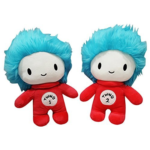 Cat in the Hat Dr. Seuss Thing 1 and Thing 2 plush set by Universal Studios Hollywood